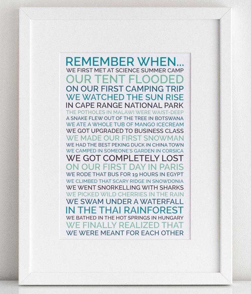 personalized remember when poster boyfriend gift Geschenke