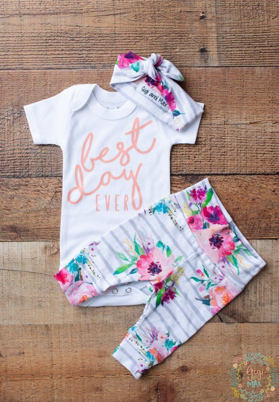 2dfc1af8ea04 coming home outfit baby girl best day ever watercolor Floral theme ...