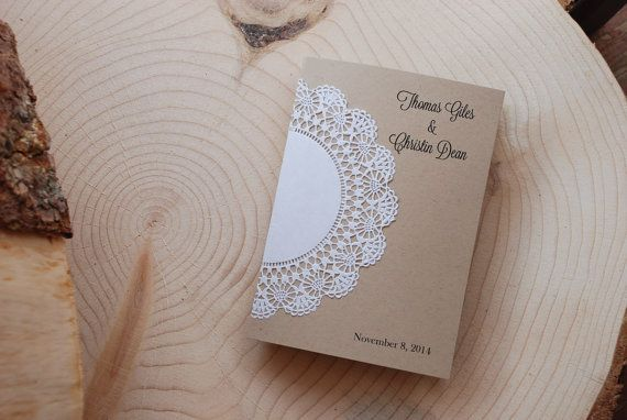 We just added these lovely programs to our collection and we love them!  These are 5x7 with a complete doily glued securely onto the outside of the 5x7 folded program.    $2 per program.    The information I will need is the couples name, date of wedding, wedding ceremony, wedding party, and personal thank you note. Upon purchasing, please leave all your info in the note to seller section or send to postscripts@outlook.com.    Want another font? Want a different size or color? Dont want it…