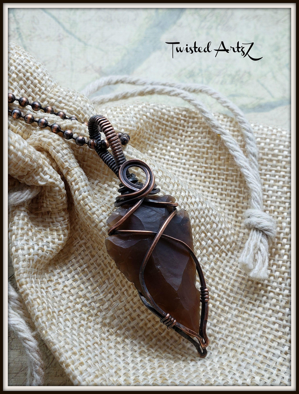 Photo of Jasper Arrowhead, Copper Wire Wrapped,Pendant,Necklace