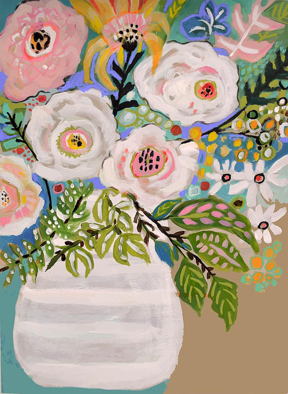 Flowers In Vase Painting On 18 X 24 Paper By Karen Fields Flower