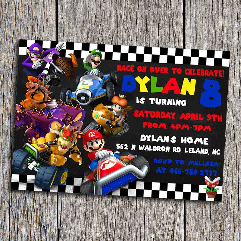 Mario Kart Birthday Party Invitation Digital by DottyDigitalParty