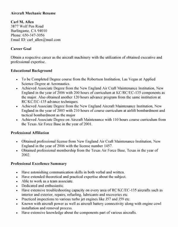 50 Unique Aircraft Mechanic Resume Templates In 2020