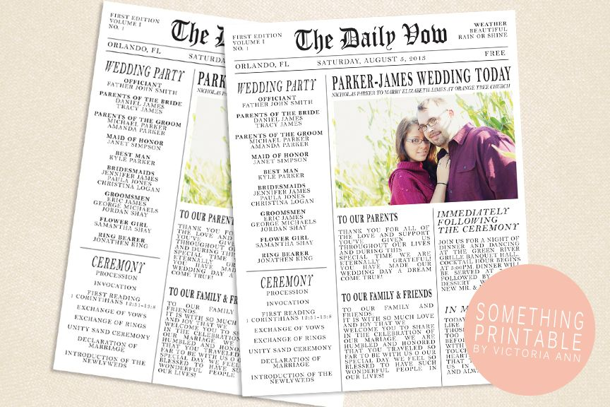newspaper wedding program template - Ideal.vistalist.co