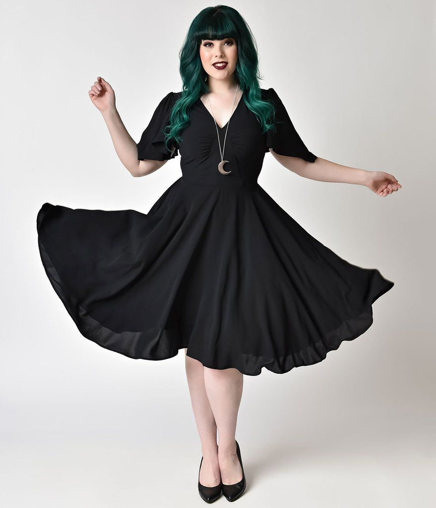 Hell Bunny Plus Size 1940s Style Black Butterfly Sleeve Carolina Sabrina Swing Sleeves Dress