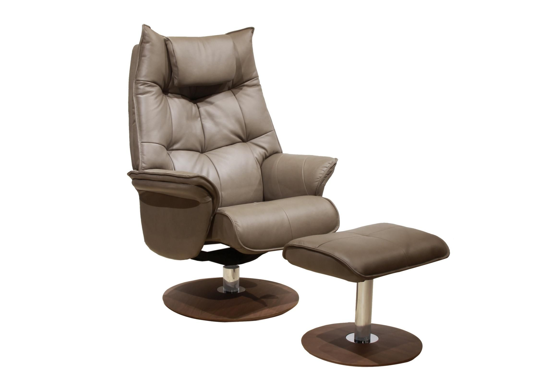 Modern stylish swivel recliner chair with footstool in