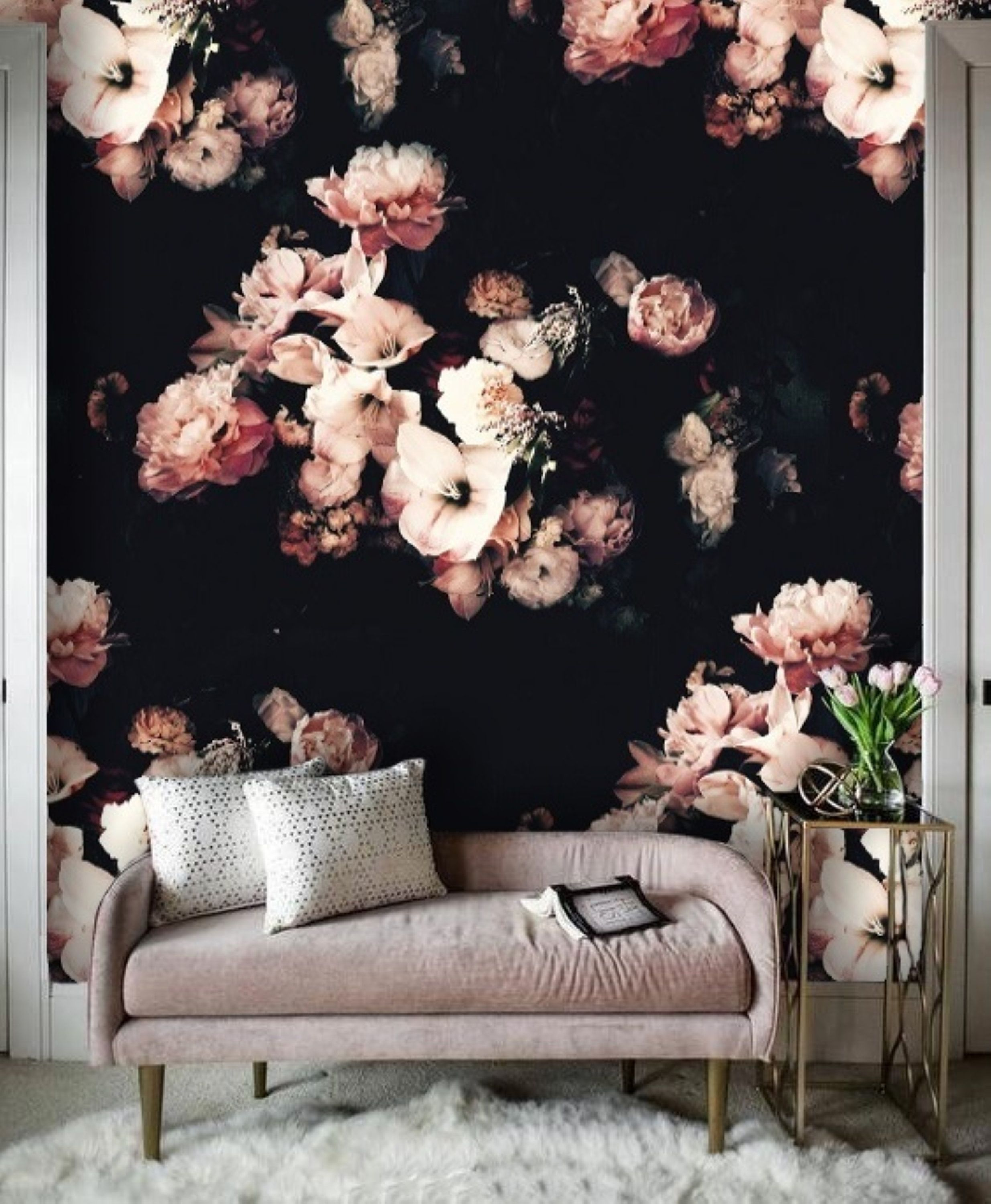 Dutch Dark Vintage Floral Removable Wallpaper Peel And Stick Etsy Large Floral Wallpaper Floral Wallpaper Black Floral Wallpaper