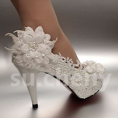 2 3 4 White Ivory Heels Lace Ribbon Crystal Pearl Wedding Shoes Bride Size 5 12