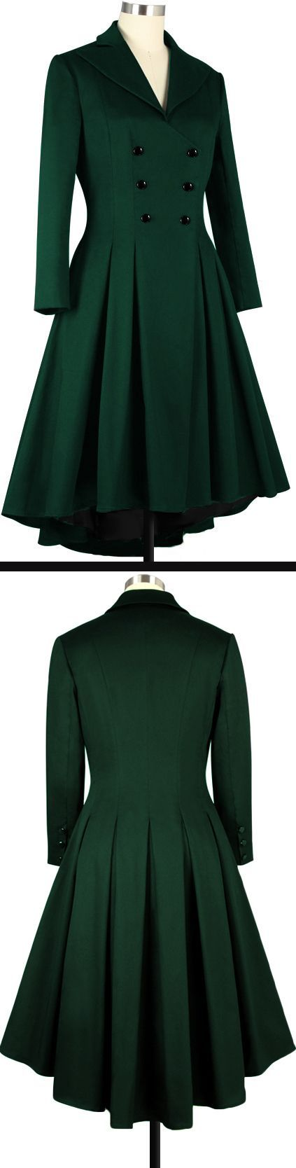 Green Pleated Swing Coat Chic Star Design by Amber