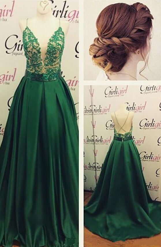 Not this color of dress. But otherwise gorgeous. Long Green Spaghetti  Straps Lace Satin Prom Dresses Party Evening Gowns 99602355 Prom Dresses  With Straps db3f7768e14a