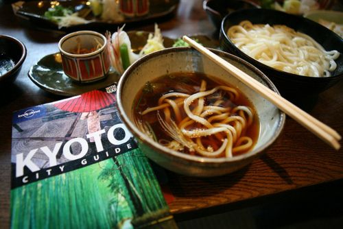 Udon- a type of thick wheat flour noodles of Japanese ...