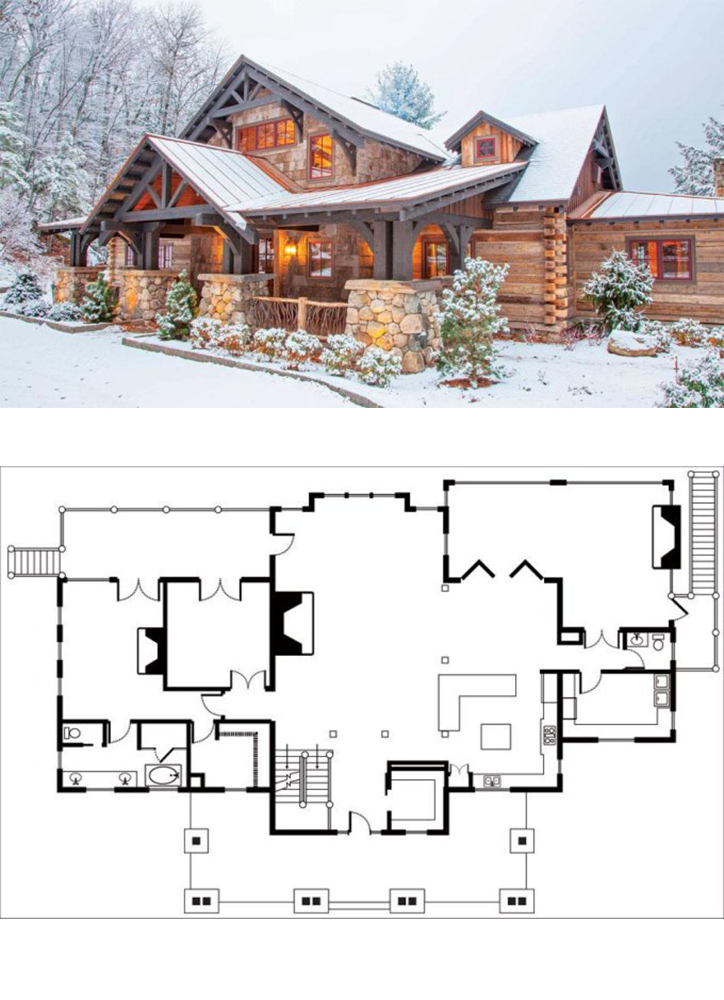Floor Plan For The Perfect Getaway Log Home Cabin In 2020 Log Cabin Floor Plans Floor Plans Log Homes