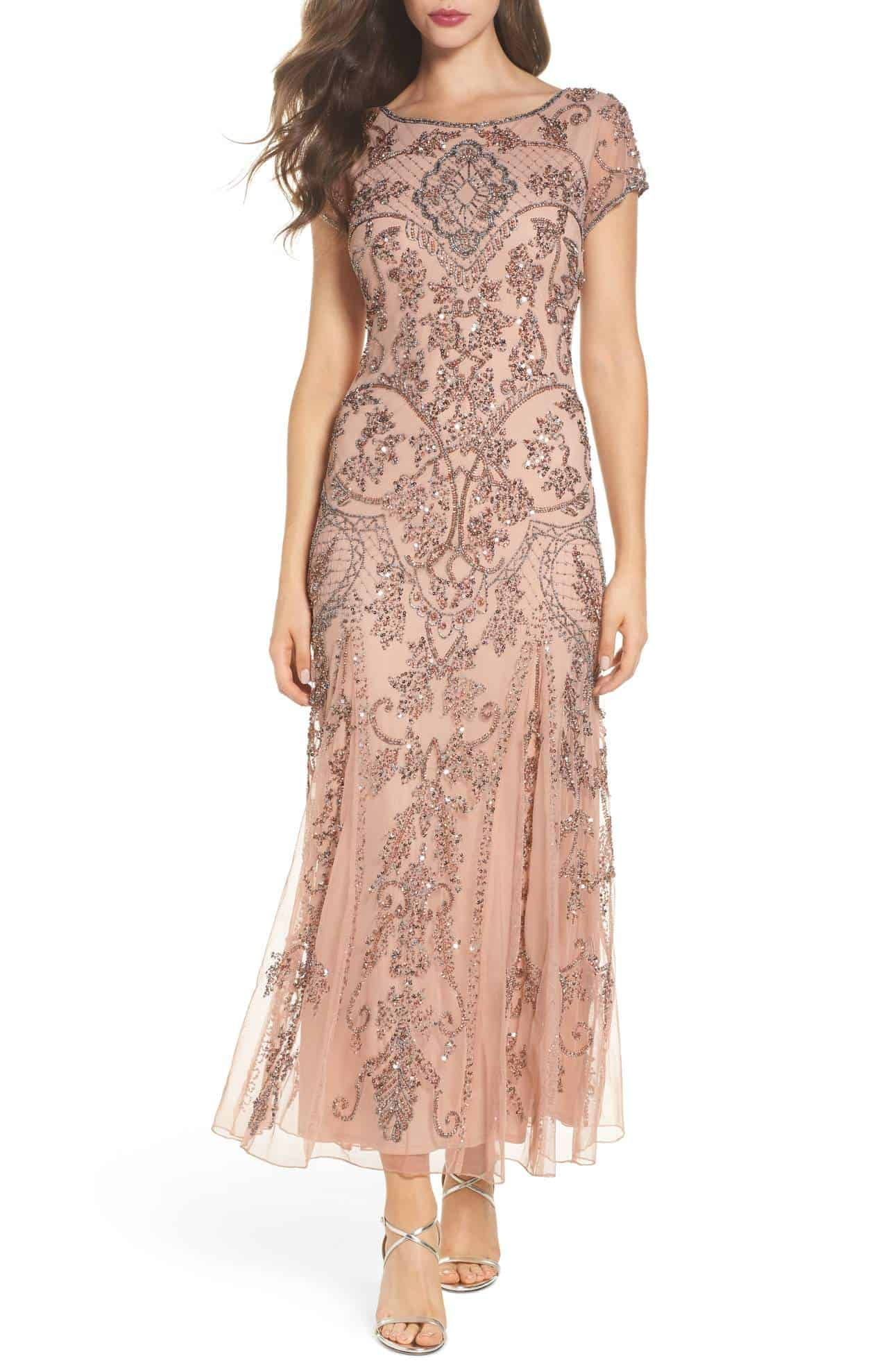 Rose Gold Or Pink Beaded Mother Of The Bride Tea Length Dress With Short Sleeves