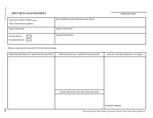 Dbq Project Document Analysis Sheet HttpCurriculumAustinisd
