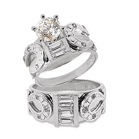 Awesome For Western Wedding White Gold Trio Three Piece Horseshoe Ring Set