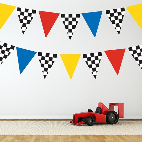Race Car Flags Wall Decal Stickers Removable And Reusable Wall - Wall decals carsracing car wall decal ideas for the kids pinterest wall
