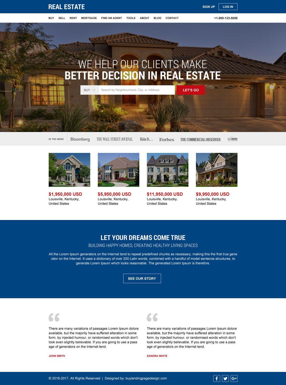 Best real estate html website template design real estate html
