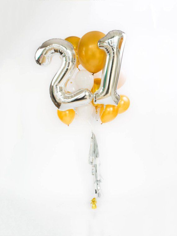 21st Birthday Balloon Bouquet With Tassel 21 Numbers Silver Giant Number Balloons