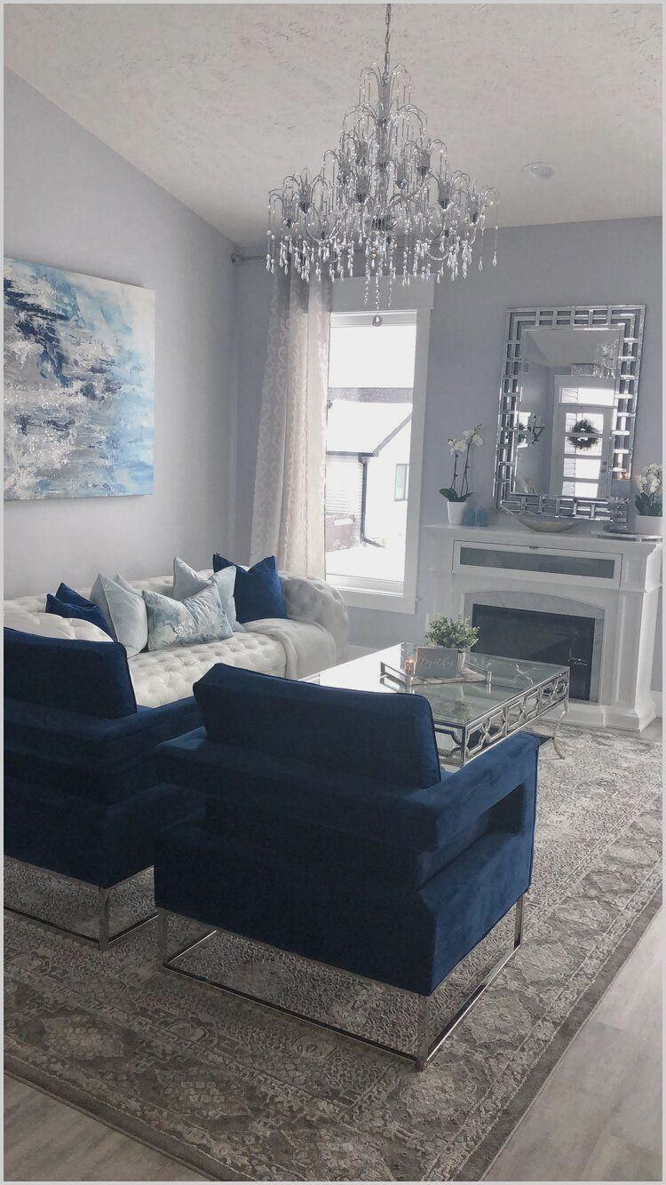 Living Room With Blue And Grey Furniture In 2020 Blue Living