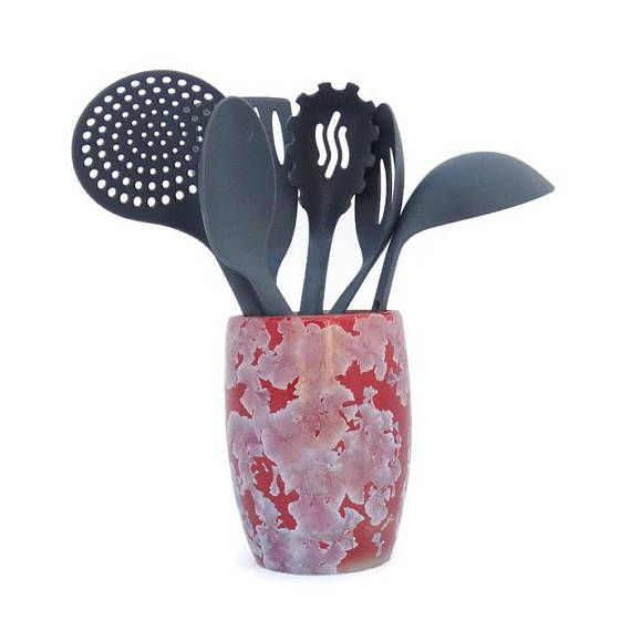 Ceramic Utensil Holder Crystal Glazed Vase Desk Organiser Etsy