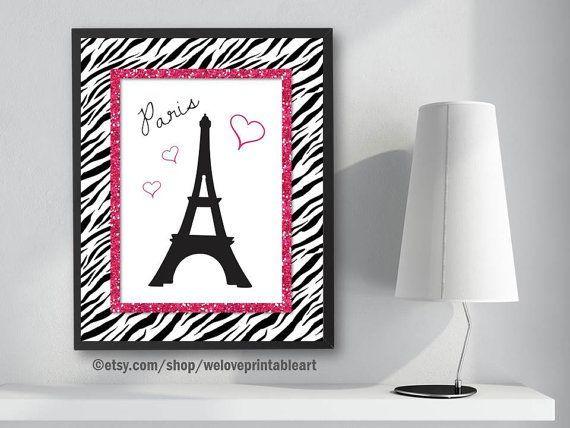 Paris Bedroom Decor, Pink and Black, Zebra Print, Paris Eiffel ...