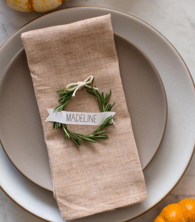 DIY Rosemary Wreath place card