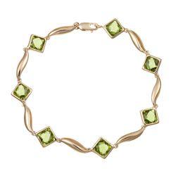 14k Yellow Gold Peridot Link Bracelet