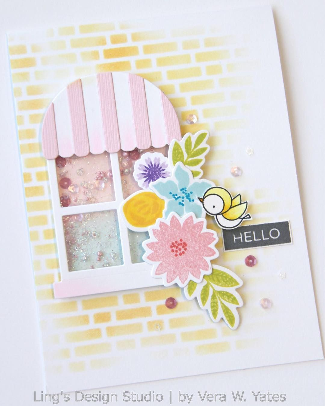 Here's the finished card. I love making shaker card. Using my favorite window dies from @mftstamps. #mftdienamics #thetonstampssequins #cardmaking #papercrafting #thedailymarker30day