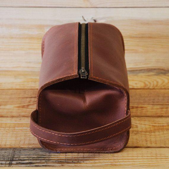 3da32d7841c6 Leather Personalized Dopp Kit