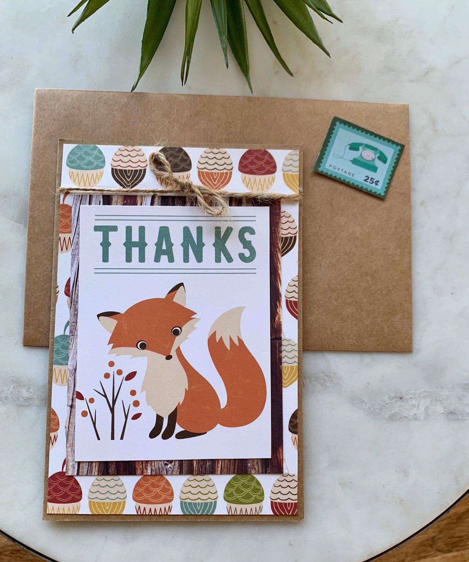 Handmade Fox Thanks Card Blank Inside 4x6 Kraft Paper Card Etsy In 2021 Thanks Card Blank Cards Cards