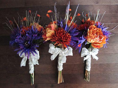 Purple and Orange Wedding Bouquets