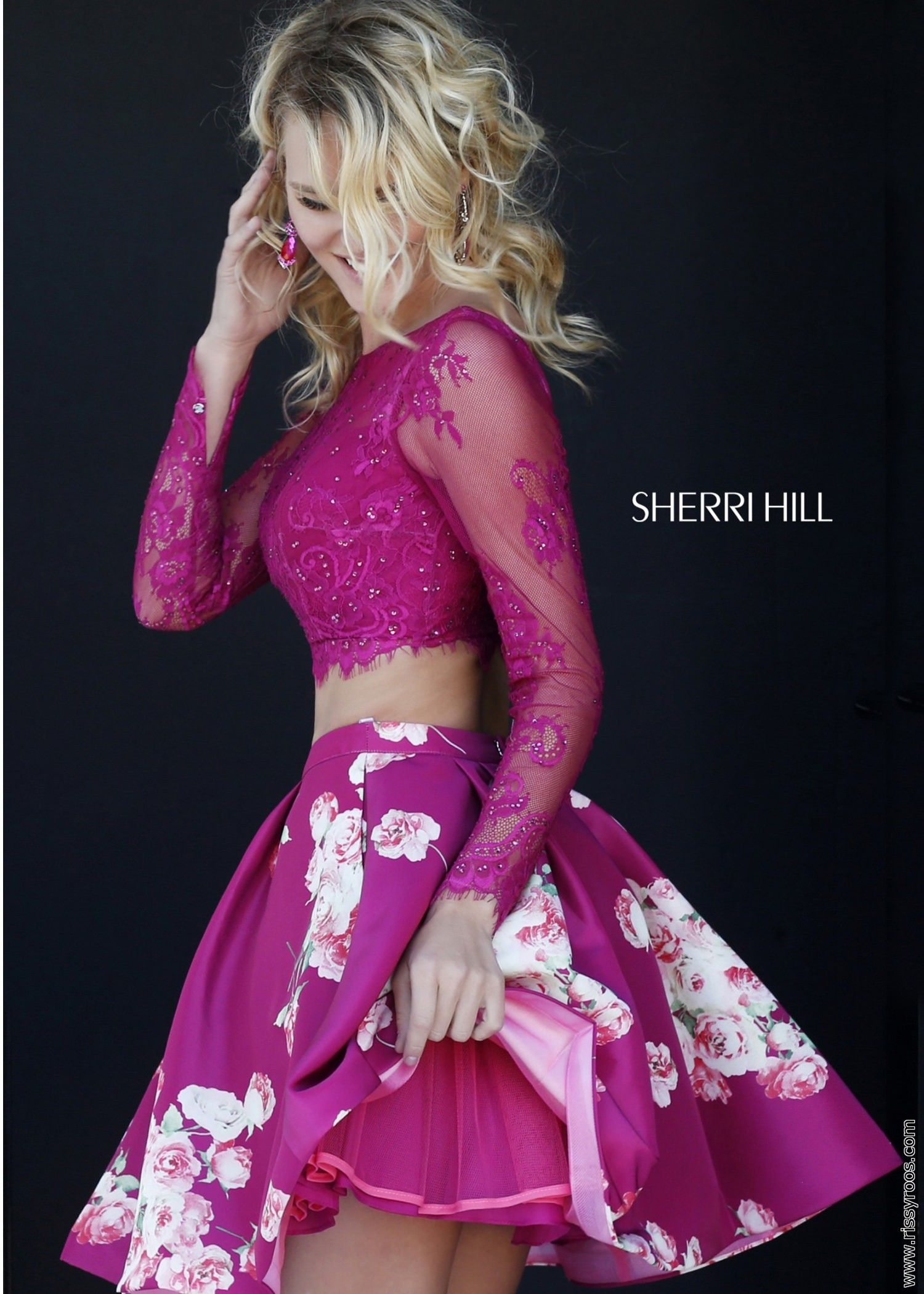 2015 Floral Sherri Hill 32323 Two Piece Homecoming Dress