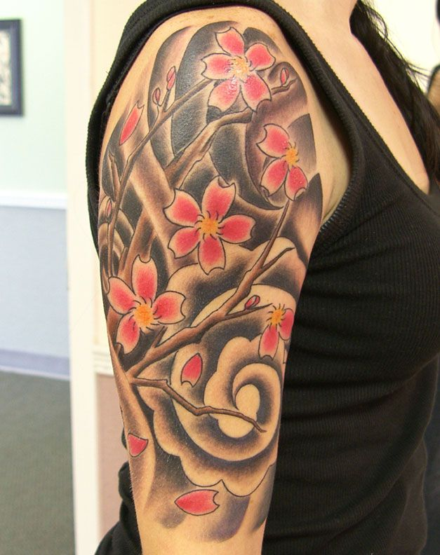 Cherry Blossom Half Sleeve Personal Picture Picture Japanese Sleeve Tattoos Cherry Blossom Tattoo Men Best Sleeve Tattoos