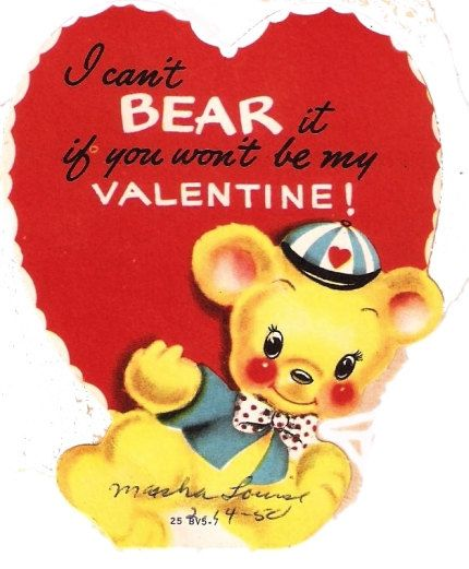Vintage Valentine Card Bear Red Heart Vintage Valentine Cards Vintage Valentines Retro Valentines
