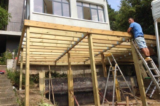 Terrasse en IPE sur ossature en IROKO, bois exotique classe 4 - maison a construire soi meme