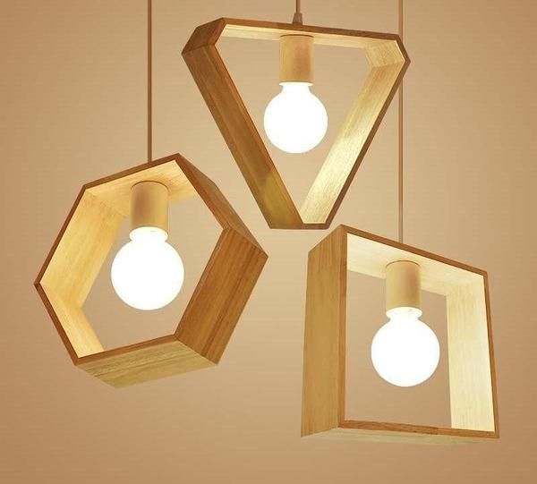 Geometric Hanging Wooden Lights #pendantlighting