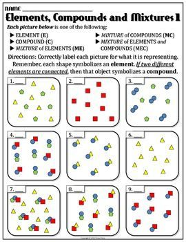 Worksheet: Elements and Compounds 1 | Teaching chemistry ...