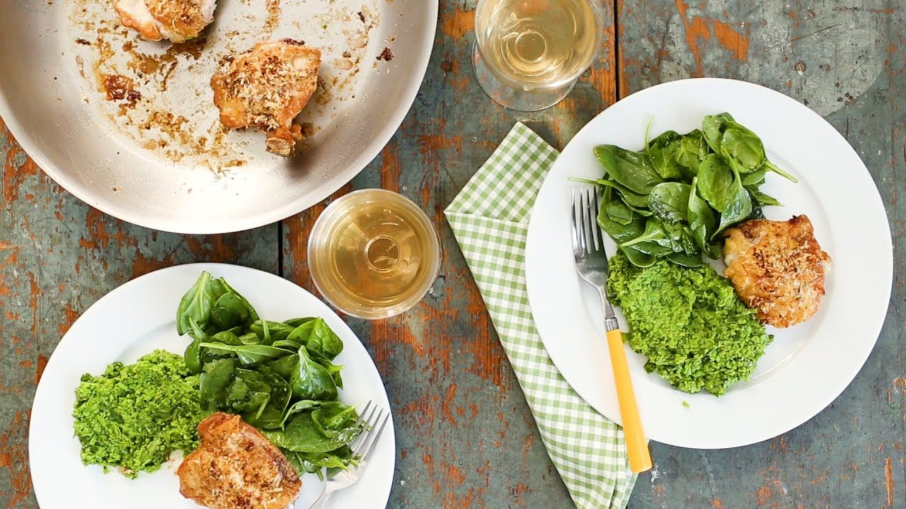 Chicken with spinach and herbed pea puree everyday food with sarah chicken with spinach and herbed pea puree everyday food with sarah carey forumfinder Choice Image