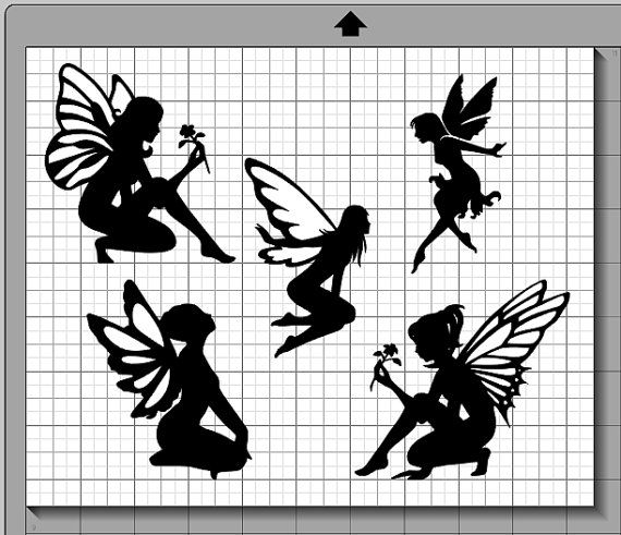 Fairy Silhouettes SVG, (dxf, eps, pdf, png, svg, studio3 file types ...