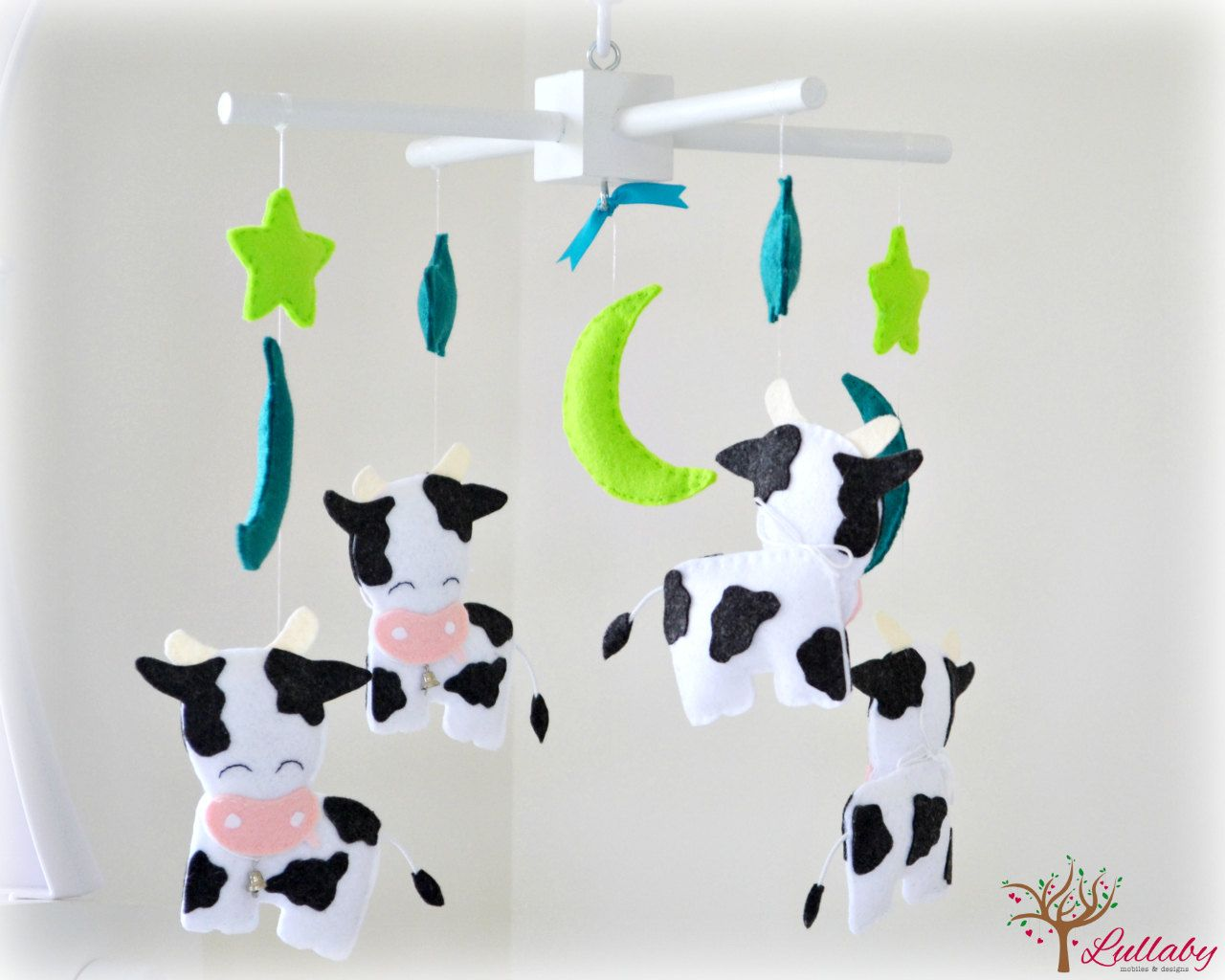 Cow baby mobile nursery decor stars moons by LullabyMobiles