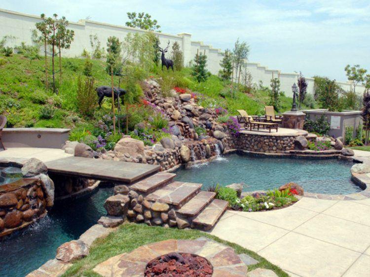 Bachlauf im großen Garten am Hang | Naturpools, Schwimmteiche ...