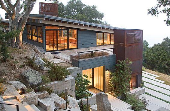 House Ocho Built On Slope Main South Side Windows On Upper Floor