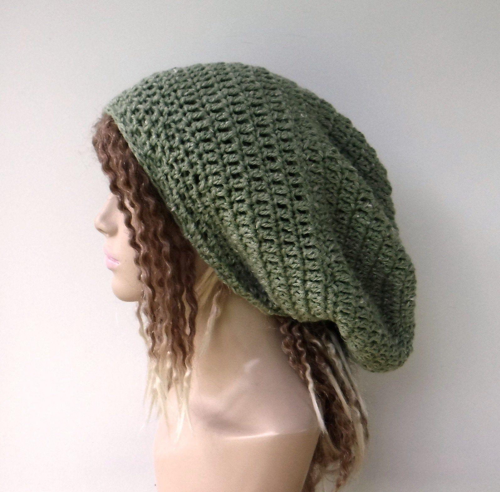 ee45369a2 Slouchy beanie sage green hippie hat dreadlocks tam hat dread tam ...