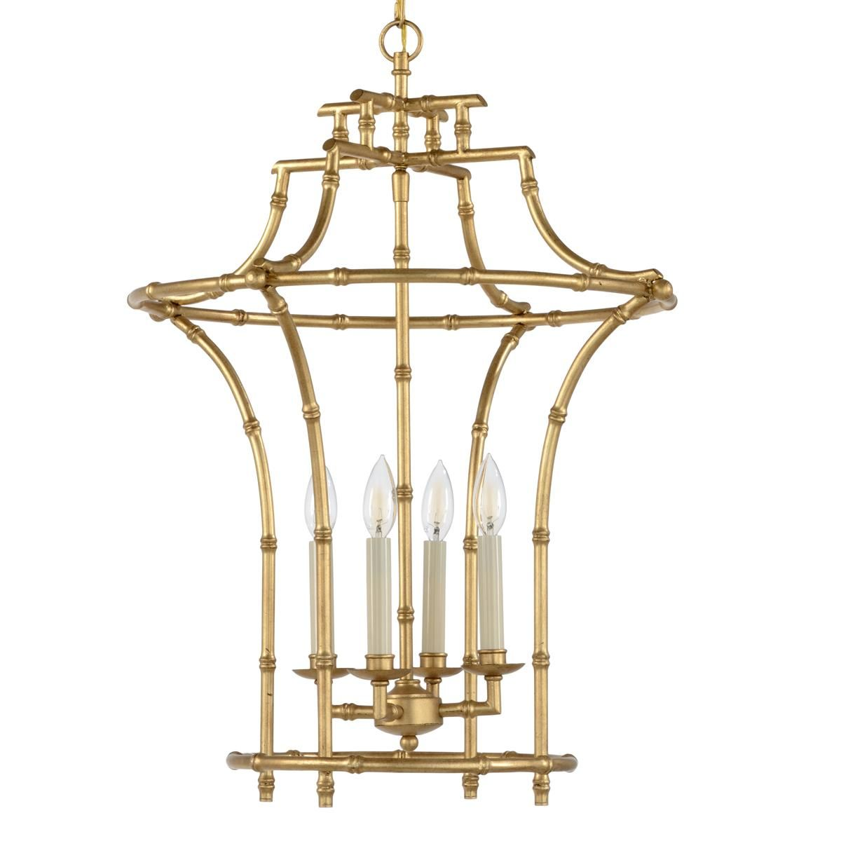 Golden bamboo pagoda lantern tradition lightens up with this golden chelsea house bamboo chandelier pendant shown in antique gold finish arubaitofo Images