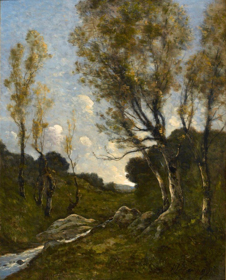 Paisagem - Pintura de Henri-Joseph Harpignies - França - 1889