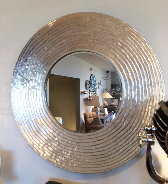 Photo of Large Round Silver Ripple Mirror 108cm