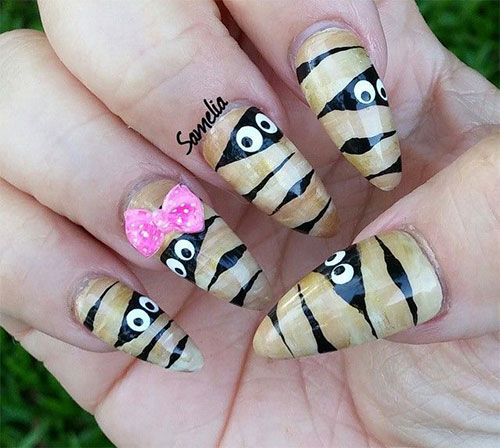 Halloween Mummy Nail Art | Cute halloween nails, Halloween ...