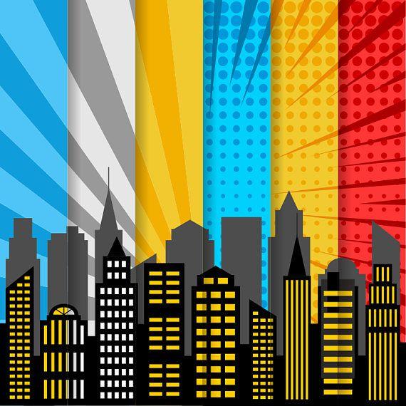 City skyline digital paper superhero digital background scrapbook clip art in 2019 superhero - Superhero background wallpaper ...