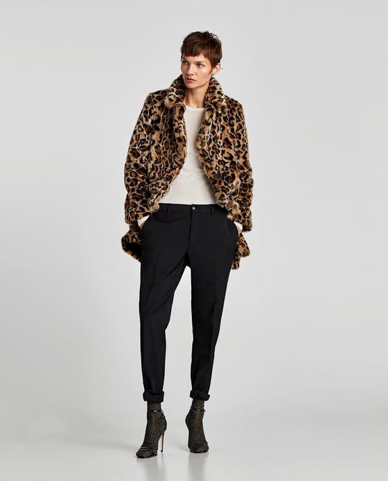 Mantel aus kunstfell mit animal print