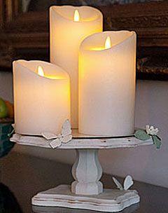 Luminara 4inch 10cm Diameter Set Of 3 Ivory Flameless Candles On